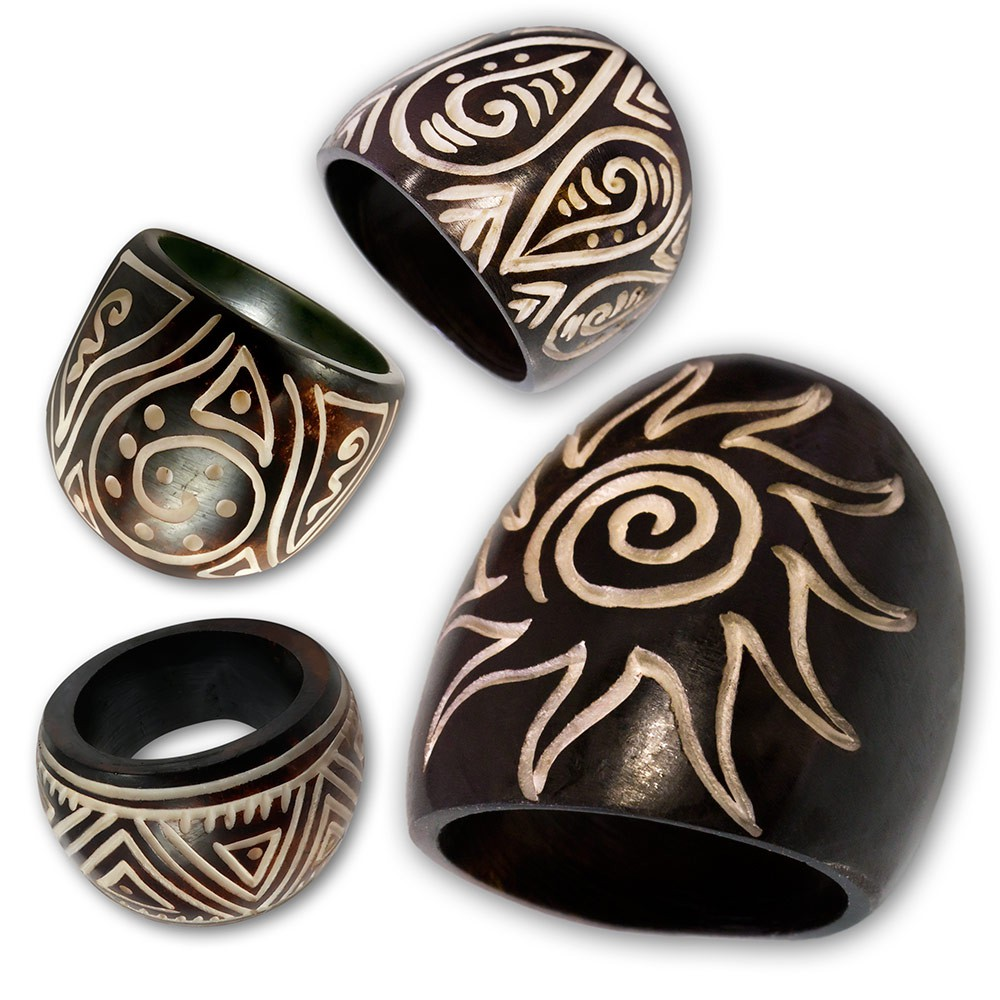 knochen maori tribal design ring organic damen ringe natur schmuck holz bone goa ebay. Black Bedroom Furniture Sets. Home Design Ideas