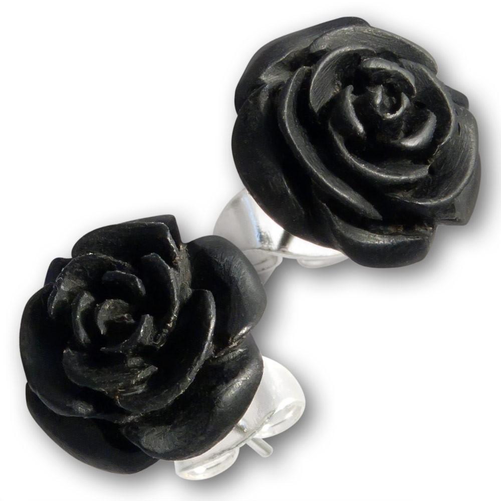 ohrstecker ohrringe rose flower bl te holz horn knochen stecker schwarz weiss ebay. Black Bedroom Furniture Sets. Home Design Ideas