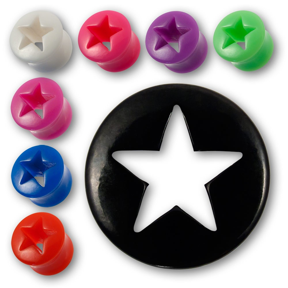 flesh tunnel ohr plug neon stern star acryl ear tube rockabilly punk horn emo bh. Black Bedroom Furniture Sets. Home Design Ideas