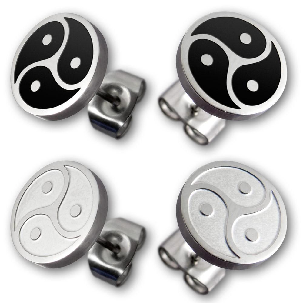 emblem triskel stainless steel stud earrings ring
