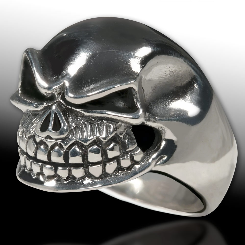 Stainless steel ring nasty and wide grinning death s for Biker jewelry stainless steel
