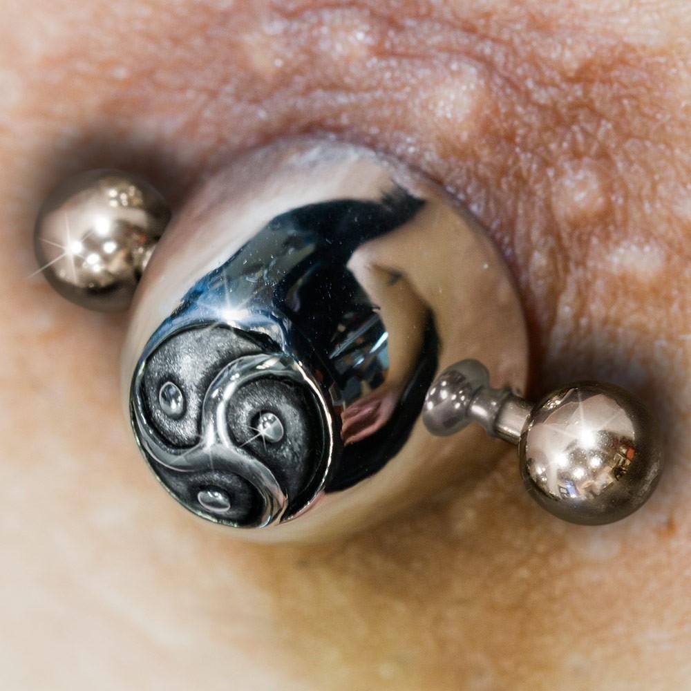 Edelstahl Nippel Shield Piercing - Peitschenrad / BDSM