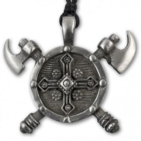 wikinger anh nger kette axt schild kreuz axe shield cross. Black Bedroom Furniture Sets. Home Design Ideas