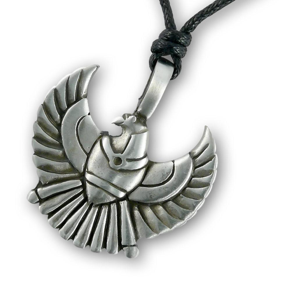 pewter amulet pendat horus falcon god thot necklace