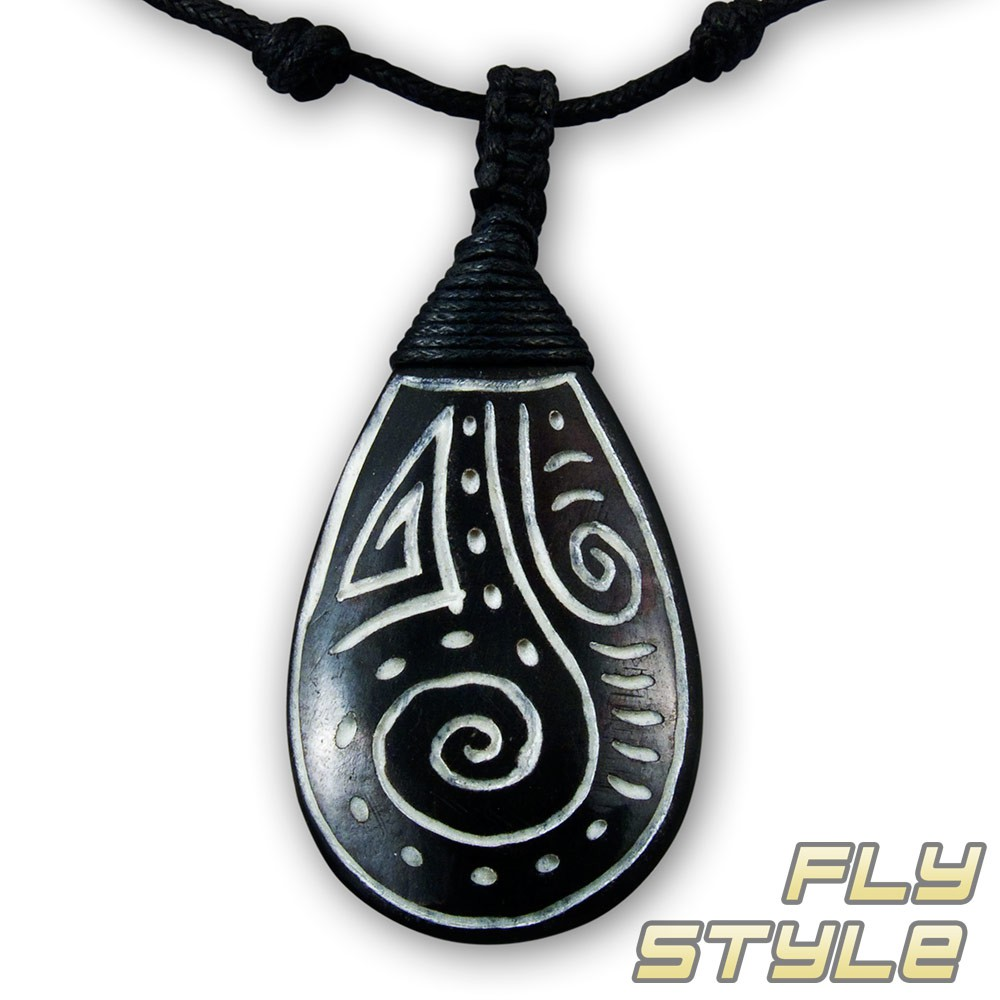 maori tribal buffalo bone pendant necklace surfer