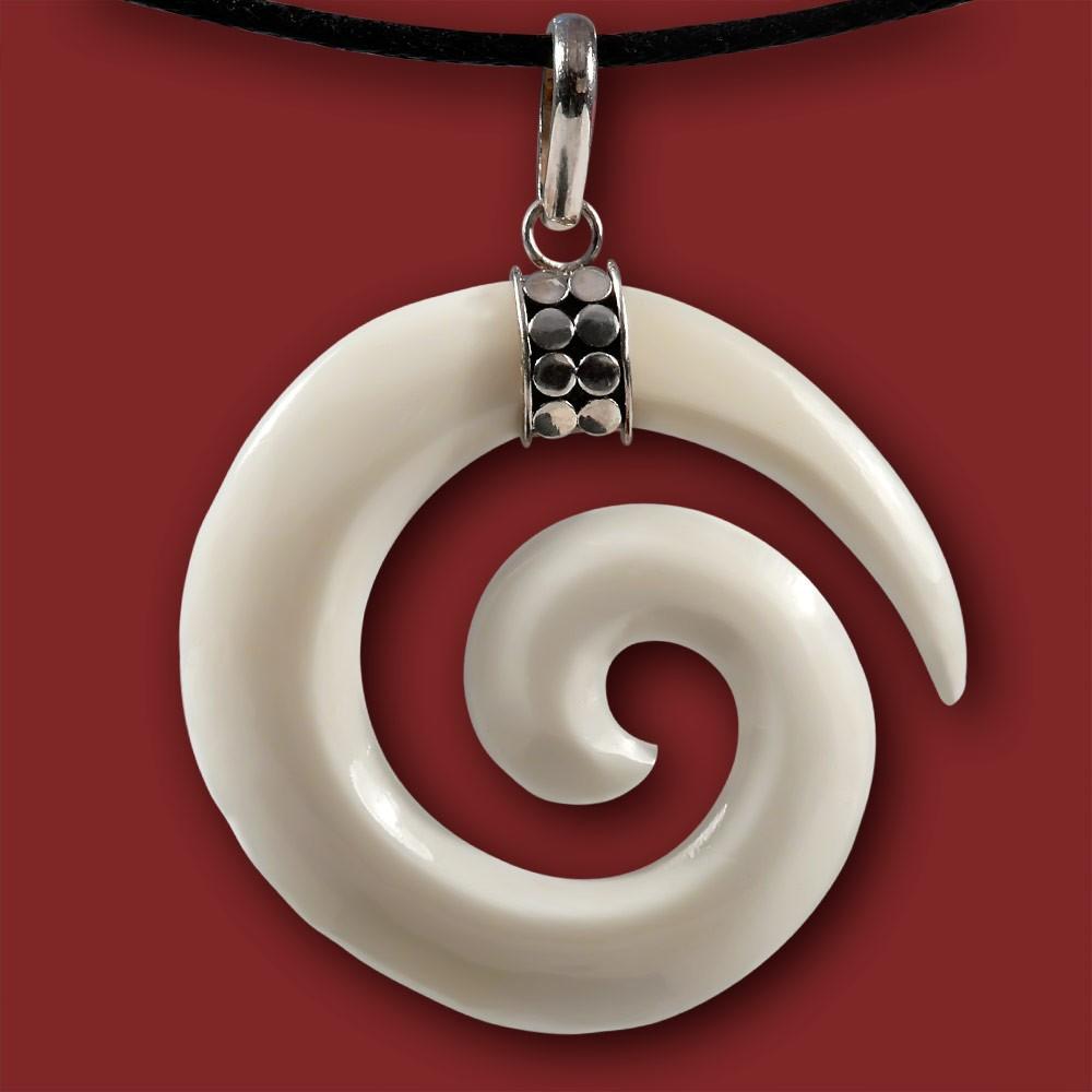 Maori bone carving knochen anhÄnger koru spirale amulett