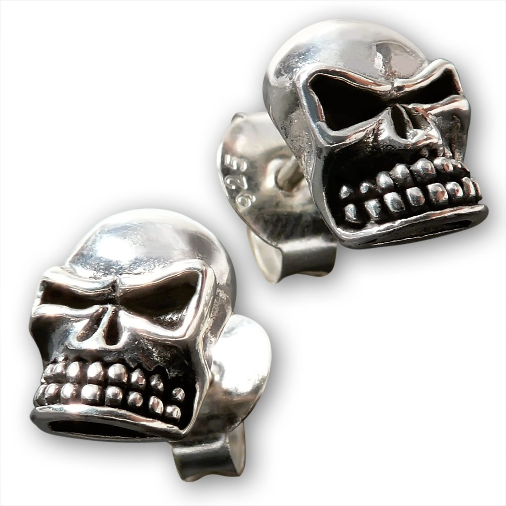 ohrstecker totenkopf skull 925 silber ohrringe gothic herren totensch del biker ebay. Black Bedroom Furniture Sets. Home Design Ideas