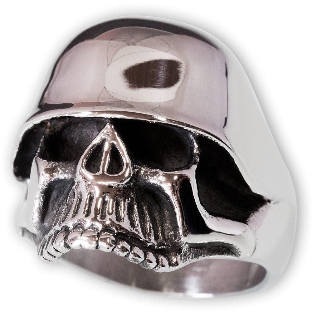 Totenkopf Ring mit Stahlhelm