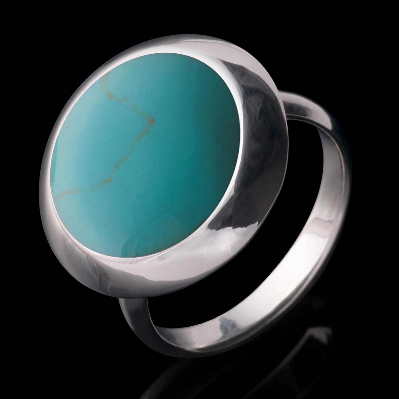 925er Silber Designer Damen Ring mit grünem Inlay in Türkis Optik