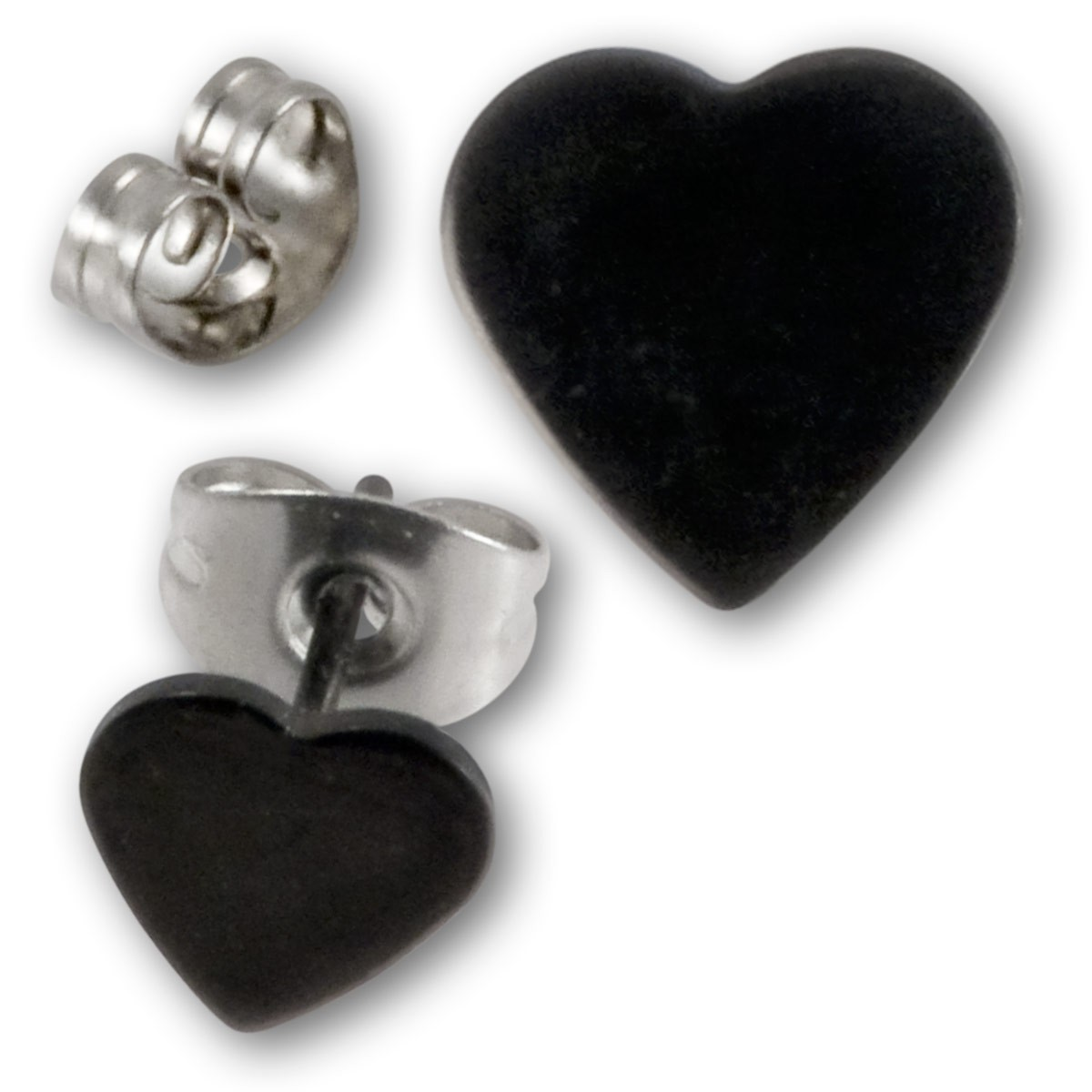 schwarze edelstahl ohrringe herzen ohrschmuck ohrstecker. Black Bedroom Furniture Sets. Home Design Ideas