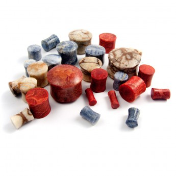 Plain Flesh Plug made of red, blue or white Coral – picture 5