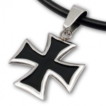 Stainless Steel Pendant - Black Iron Cross – picture 1