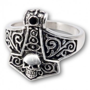 Anillo de Acero Inoxidable - Martillo de Thor con Calavera – picture 1