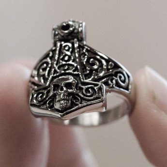 Anillo de Acero Inoxidable - Martillo de Thor con Calavera – picture 3