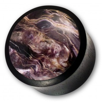 Ebony Wood Plug with Charoite Inlay - Limited! – picture 1