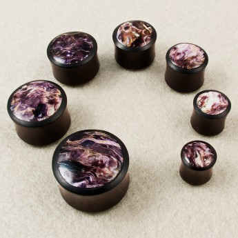Ebony Wood Plug with Charoite Inlay - Limited! – picture 2