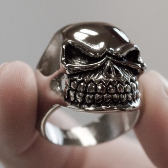 Stainless Steel Ring - Nasty and Wide Grinning Death`s Head – picture 2