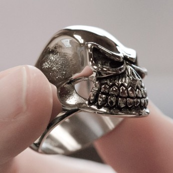 Stainless Steel Ring - Nasty and Wide Grinning Death`s Head – picture 3