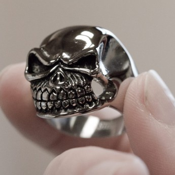 Stainless Steel Ring - Nasty and Wide Grinning Death`s Head – picture 4