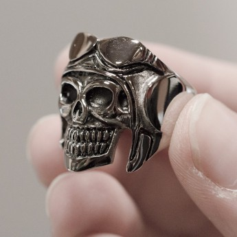 Stainless Steel Skull Ring - Pilot – picture 4