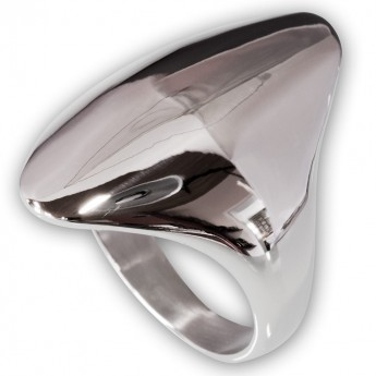 Long Oval Designer Stainless Steel Ring – picture 1