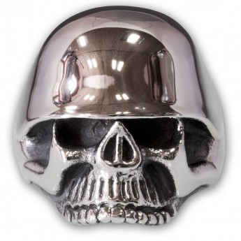 Stainless Steel Skull Ring with WW2 Helmet – picture 1