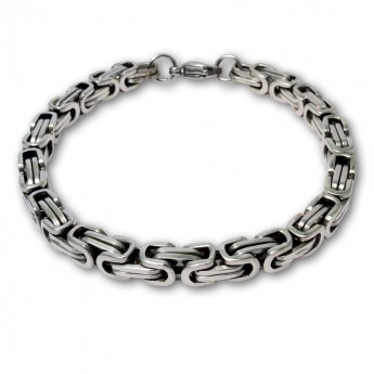 7mm Square Stainless Steel Byzantine King Chain / Necklace or Bracelet – picture 8