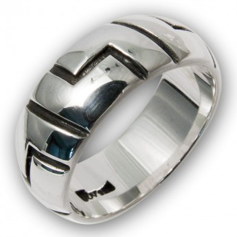 Band Ring from .925 Sterling Silver - Aztec Motif