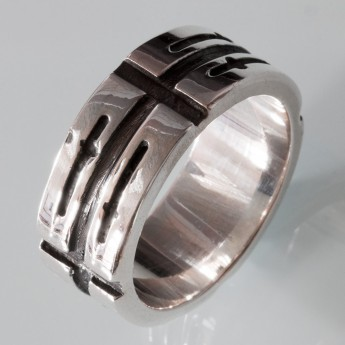 925 Sterling Silver Band Ring - Cross-Lines Motif