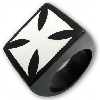 Black Horn Signet Ring with Bone Inlay – picture 3