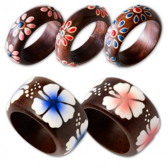 Ladys ring from Wood with different Floral Motifs – picture 2