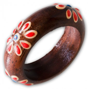 Ladys ring from Wood with different Floral Motifs – picture 4
