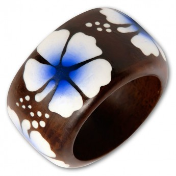 Ladys ring from Wood with different Floral Motifs – picture 7
