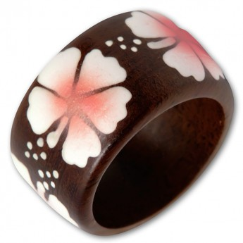Ladys ring from Wood with different Floral Motifs – picture 8