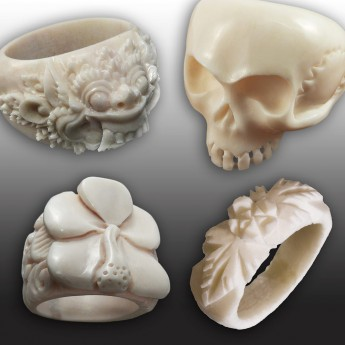 Carved Bone Ring with different Designs – picture 1