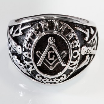 "Masonic Ring from Stainless Steel - MASTER MASON with the Square, Compass and ""G"" symbol, Masonry Trowel  – picture 1"