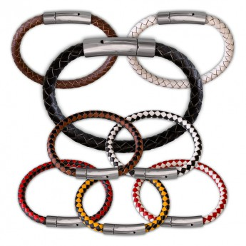 6mm thick Bracelet from genuine braided leather with Stainless Steel Design Clasp in different colors – picture 1