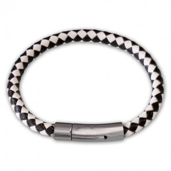 6mm thick Bracelet from genuine braided leather with Stainless Steel Design Clasp in different colors – picture 5