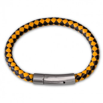 6mm thick Bracelet from genuine braided leather with Stainless Steel Design Clasp in different colors – picture 6