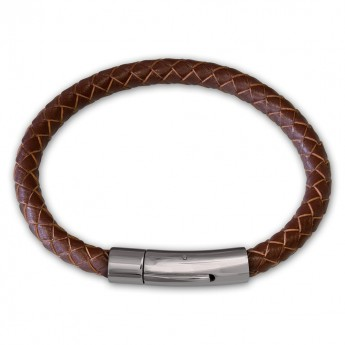 6mm thick Bracelet from genuine braided leather with Stainless Steel Design Clasp in different colors – picture 7