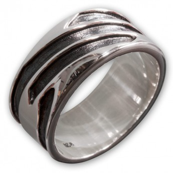 925 Sterling Silber Ring - Tribal Lines