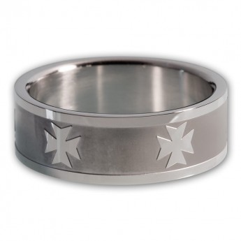 Stainless Steel Band Ring - Iron Cross