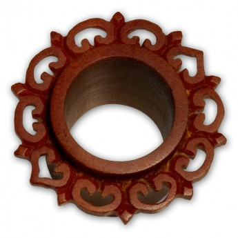 Ornate Petal Flower Flesh Tunnel Plug made from brown Sawo Wood – picture 2