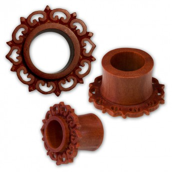 Ornate Petal Flower Flesh Tunnel Plug made from brown Sawo Wood – picture 1