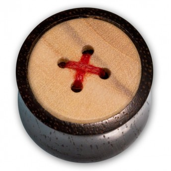 Wood Ear Plug - Button with Red Thread – picture 1