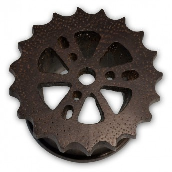 Cogwheel Wood Flesh Tunnel Plug - Steam Punk Design – picture 4