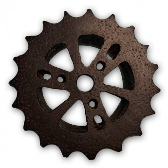 Cogwheel Wood Flesh Tunnel Plug - Steam Punk Design – picture 3