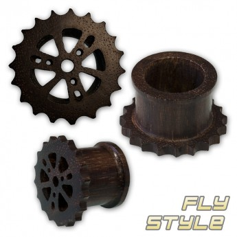 Cogwheel Wood Flesh Tunnel Plug - Steam Punk Design – picture 1