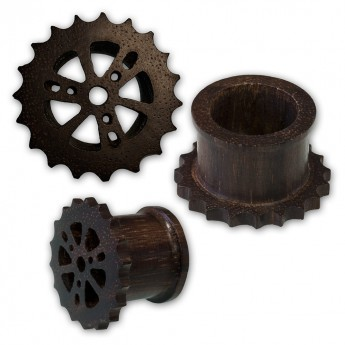 Cogwheel Wood Flesh Tunnel Plug - Steam Punk Design – picture 2