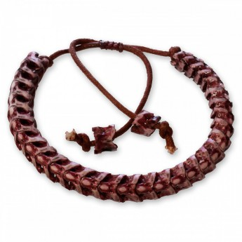 10 mm Bracelet from real snake bone without vertebral extensions - blood red